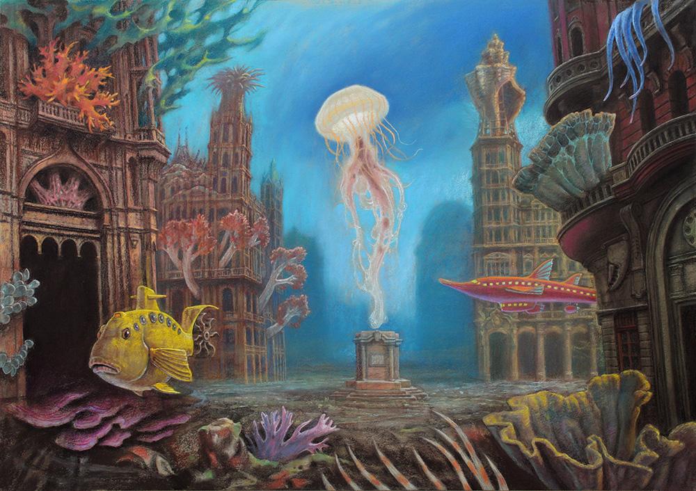 """Marcin Kołpanowicz, """"Plac Meduzy"""", pastel na papierze, 110×75 cm, niedostępny"""