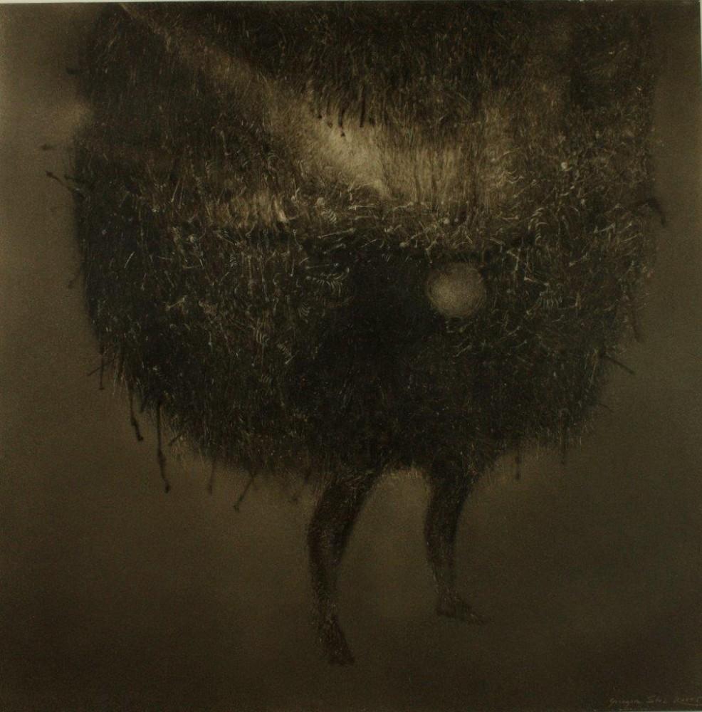 """Grzegorz Stec, """"Tragarz wszystkich kości"""", 2005, olej na płycie wym. 50 x 50cm, cena – 12 000 zł"""