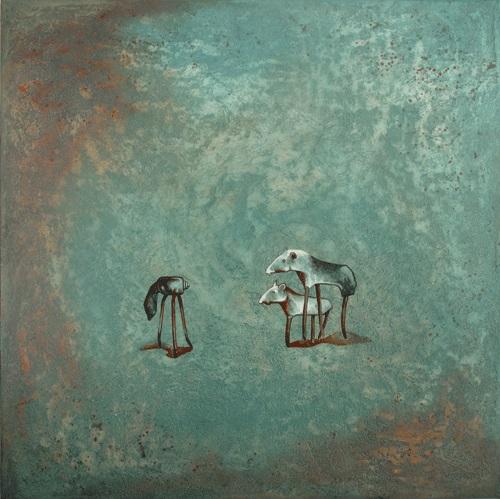 Pablo Caviedes, Na tych samych falach, akryl na płótnie, 122×122 cm, 2013