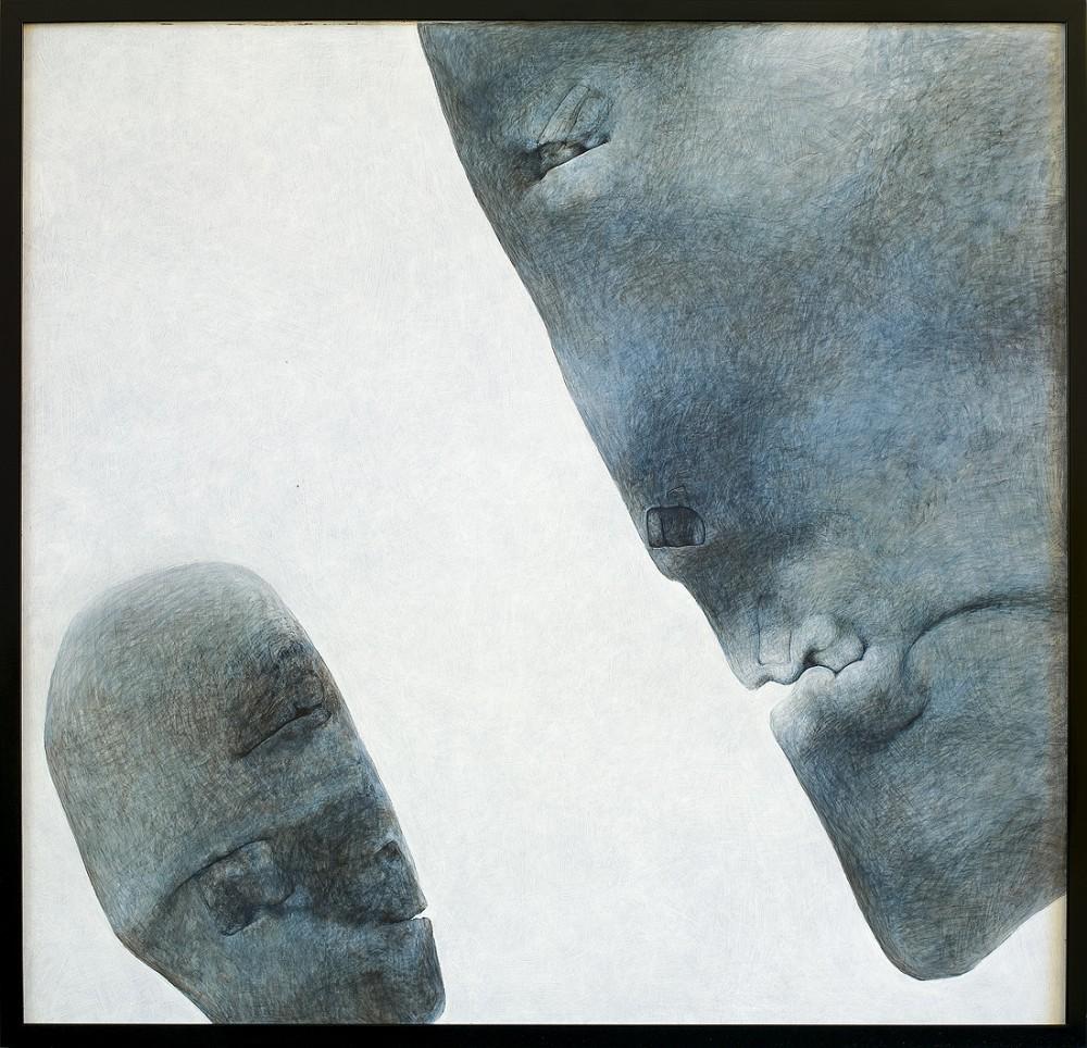 """Zdzisław Beksiński, """"Bez tytułu"""", akryl na płycie, 98×98, cena – niedostępny"""