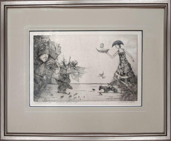 """Tomasz Sętowski, """"W obronie krolowej"""", akwaforta, 31×47 grafika, w ramie: 52×68, cena 2800 zł"""