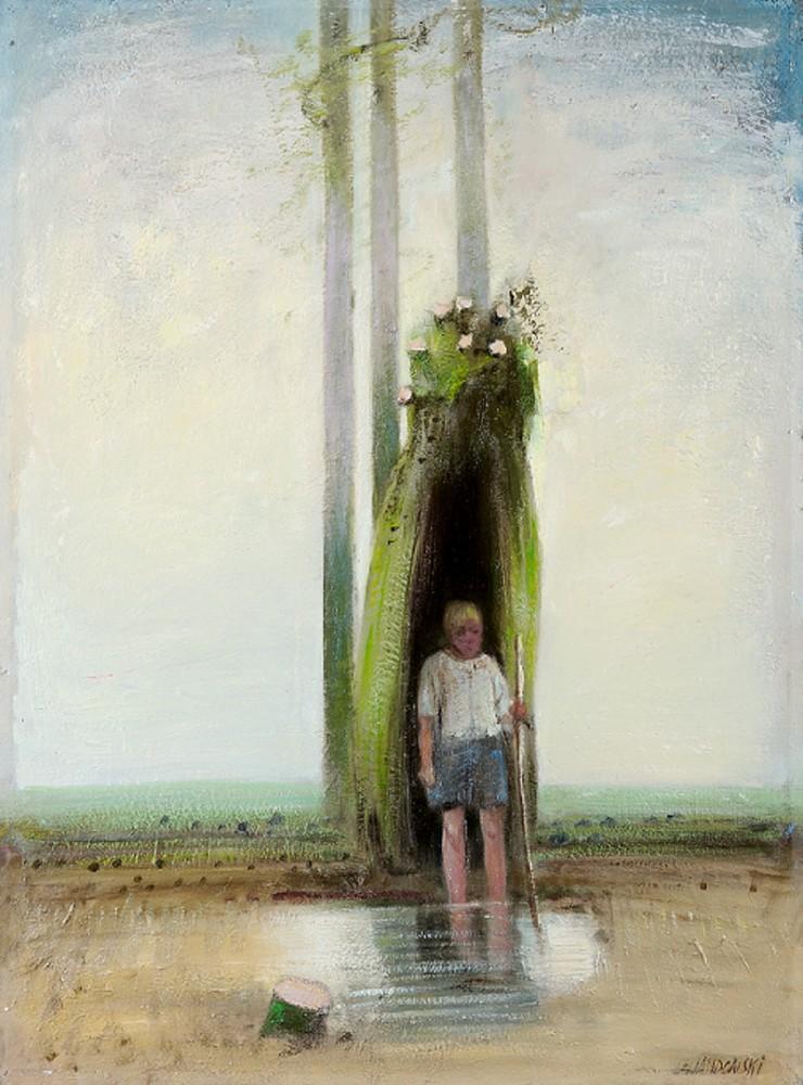 """Janusz Lewandowski, """"Chłopiec w drzewie"""", olej na płycie, 86×118 cm, 2012,"""