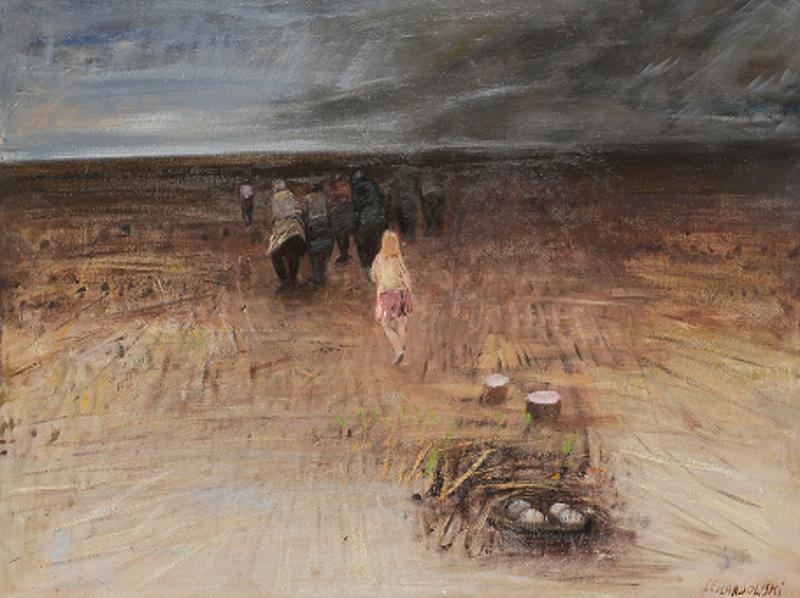 """Janusz Lewandowski, """"Exodus"""", olej na płótnie, 130×100 cm, 2010,"""