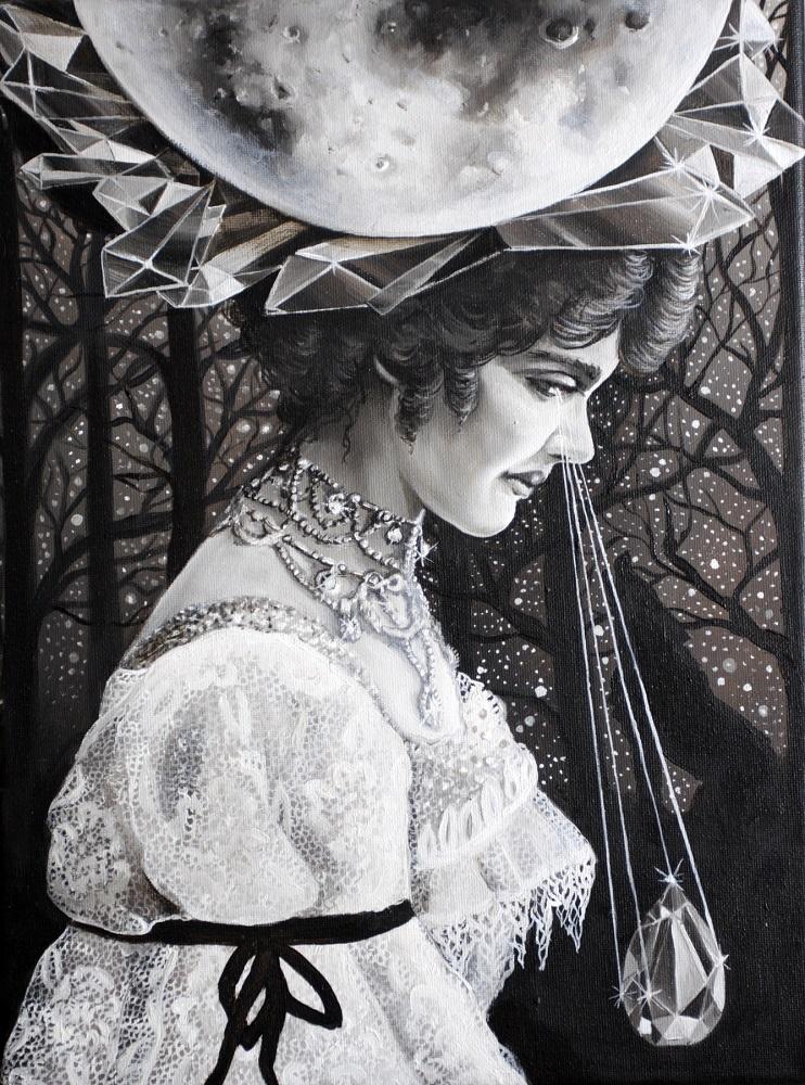 """Marta Julia Piórko, """"Wpływ księżyca"""", olej na płótnie, 30×40 cm, w kolekcji prywatnej"""