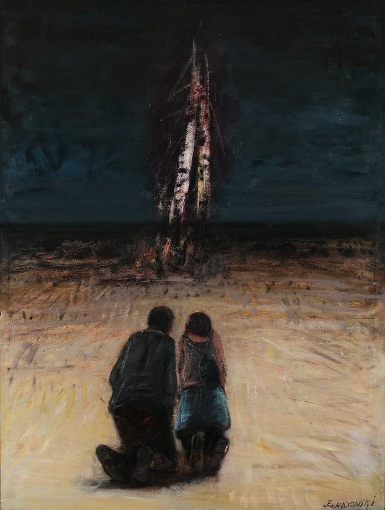 """Janusz Lewandowski, """"Modlitwa"""", olej na płótnie, 100×145 cm, 2010,"""