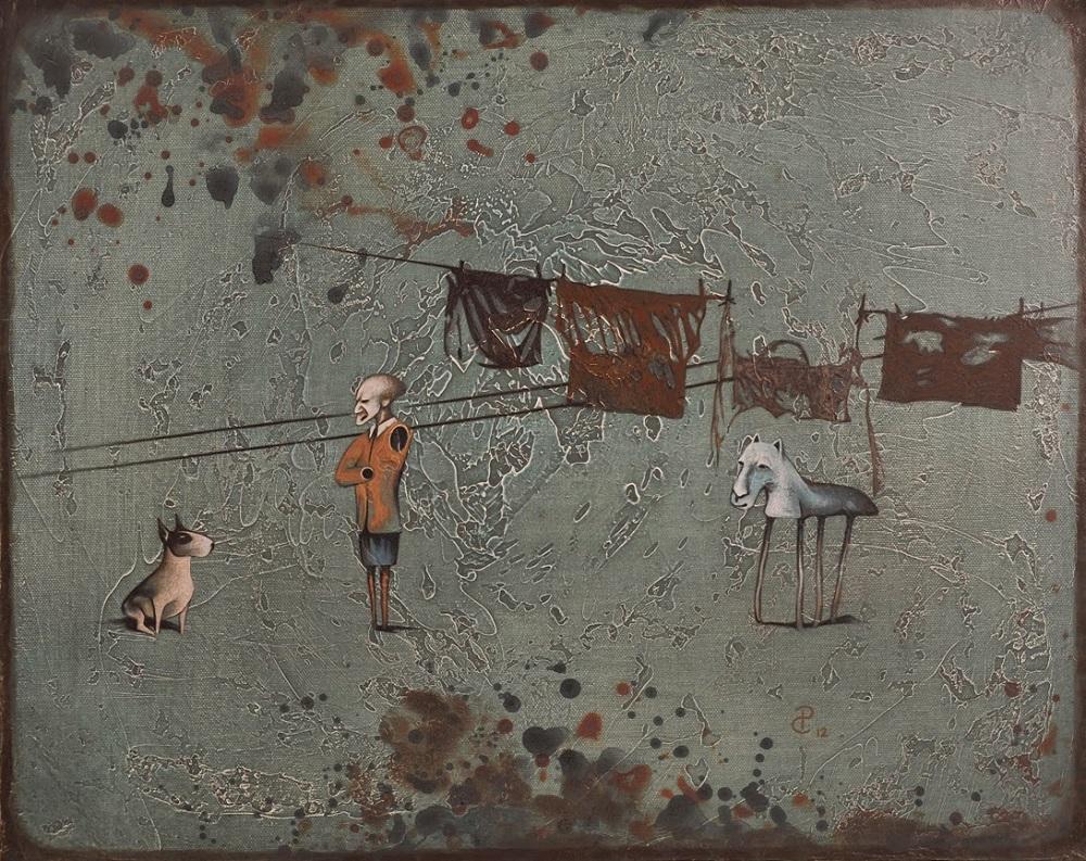 Pablo Caviedes, Życie na podwórku, 41×51 cm, 2013