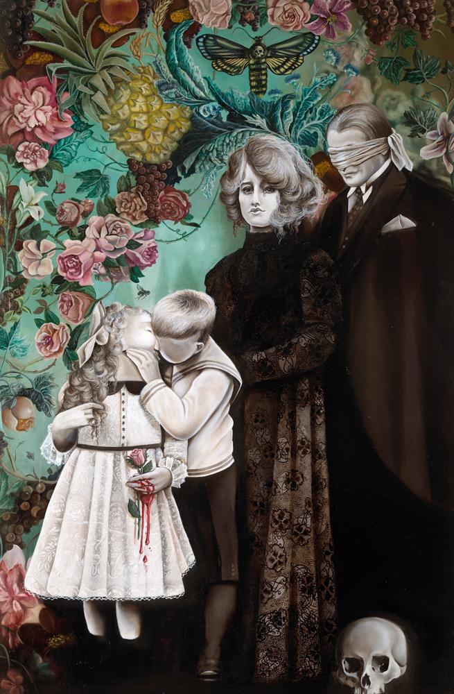 """Marta Julia Piórko, """"Sekrety rodzinne"""", olej na płótnie, 90×130 cm, cena 13000 zł"""