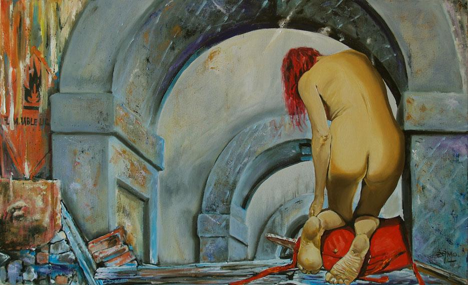 """Dariusz Żejmo, """"Tunelen"""", olej na płótnie, 100x60cm"""