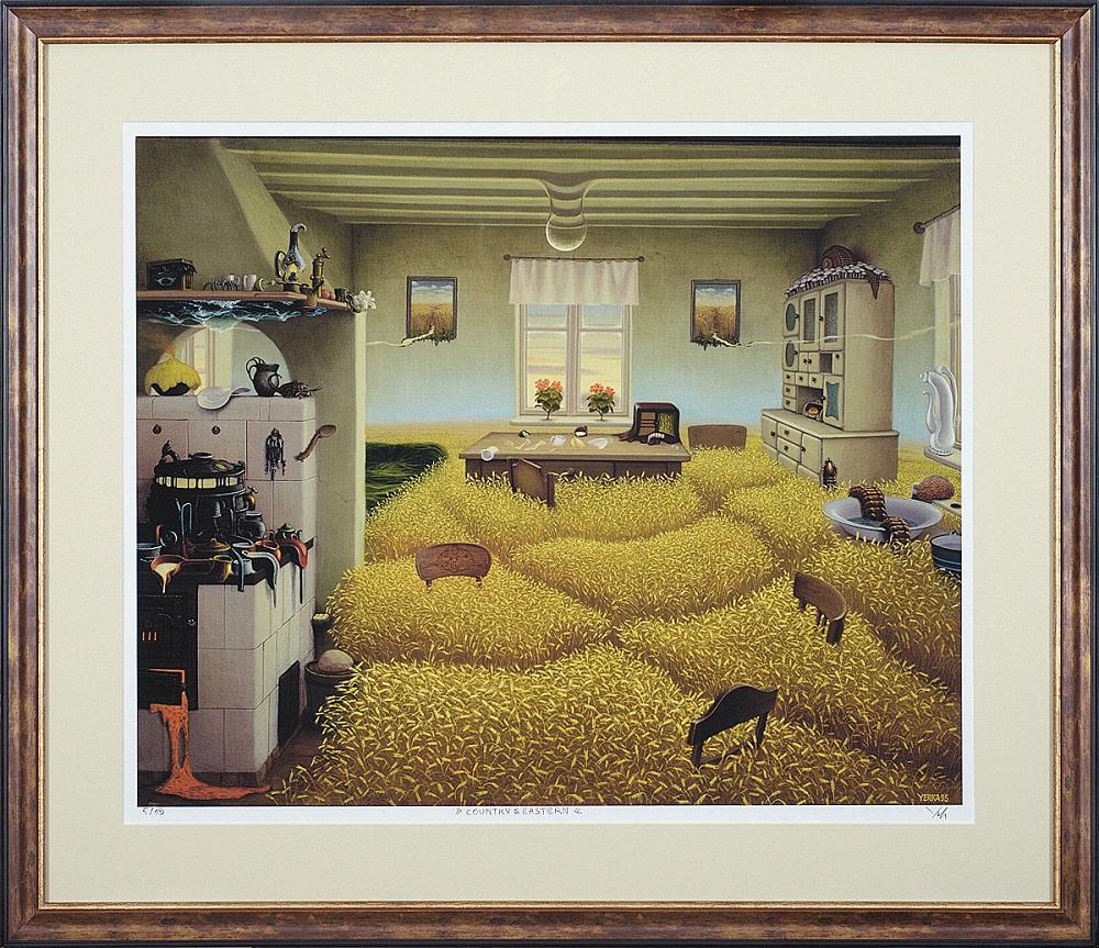 """Jacek Yerka, """"Country Easter"""", giclee oprawione, 65,5×54 cm, obraz niedostępny"""