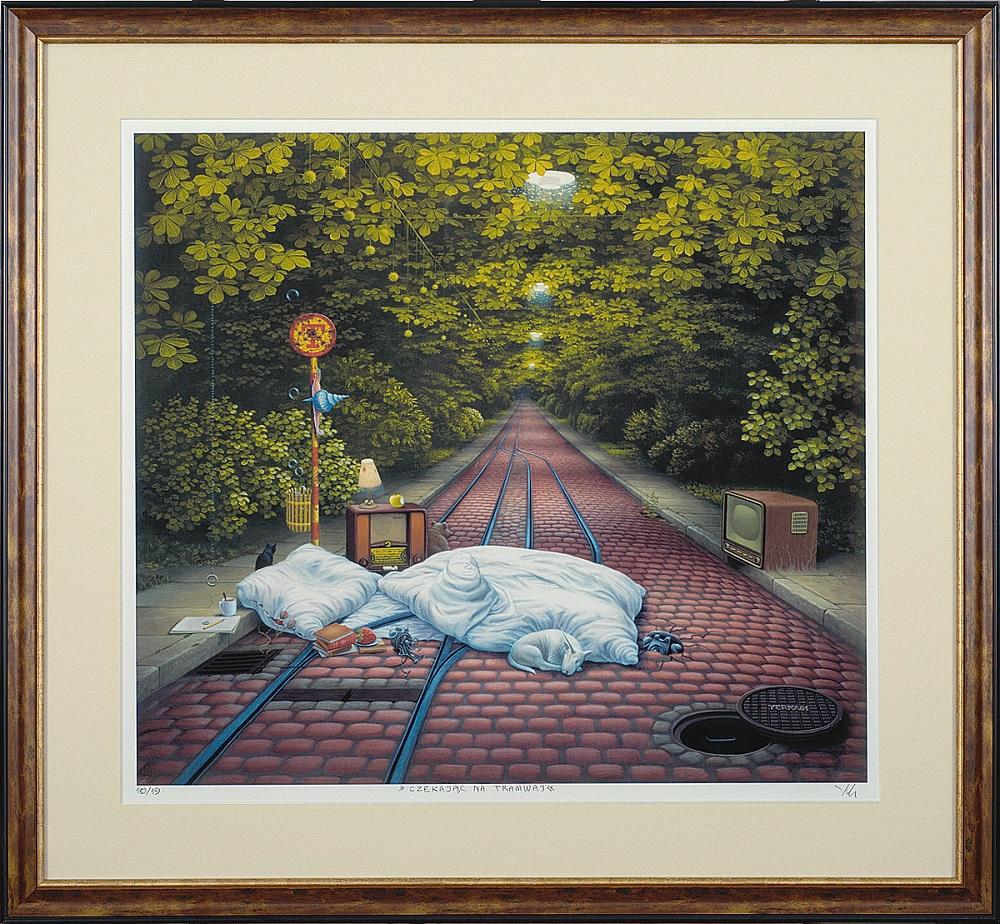 """Yerka Jacek, """"Czekając na tramwaj"""", giclee oprawione, 60×54 cm, obraz niedostępny"""
