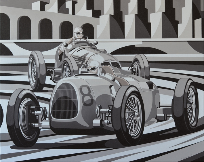 Tomasz Kostecki, Grand Prix Monaco, olej na płótnie, 100×80 cm, cena – obraz niedostępny