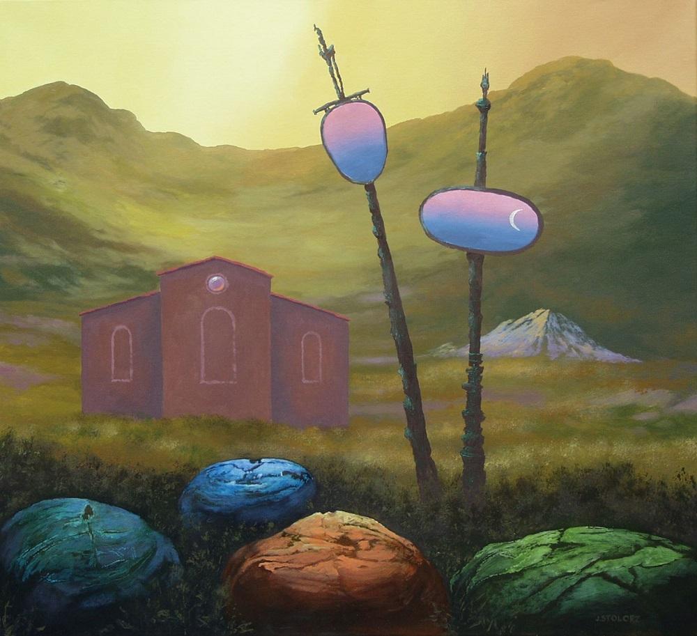 """Józef Stolorz, """"Samotnia"""", olej, alkid na płótnie, 56 x 61 cm, 6 000 zł"""