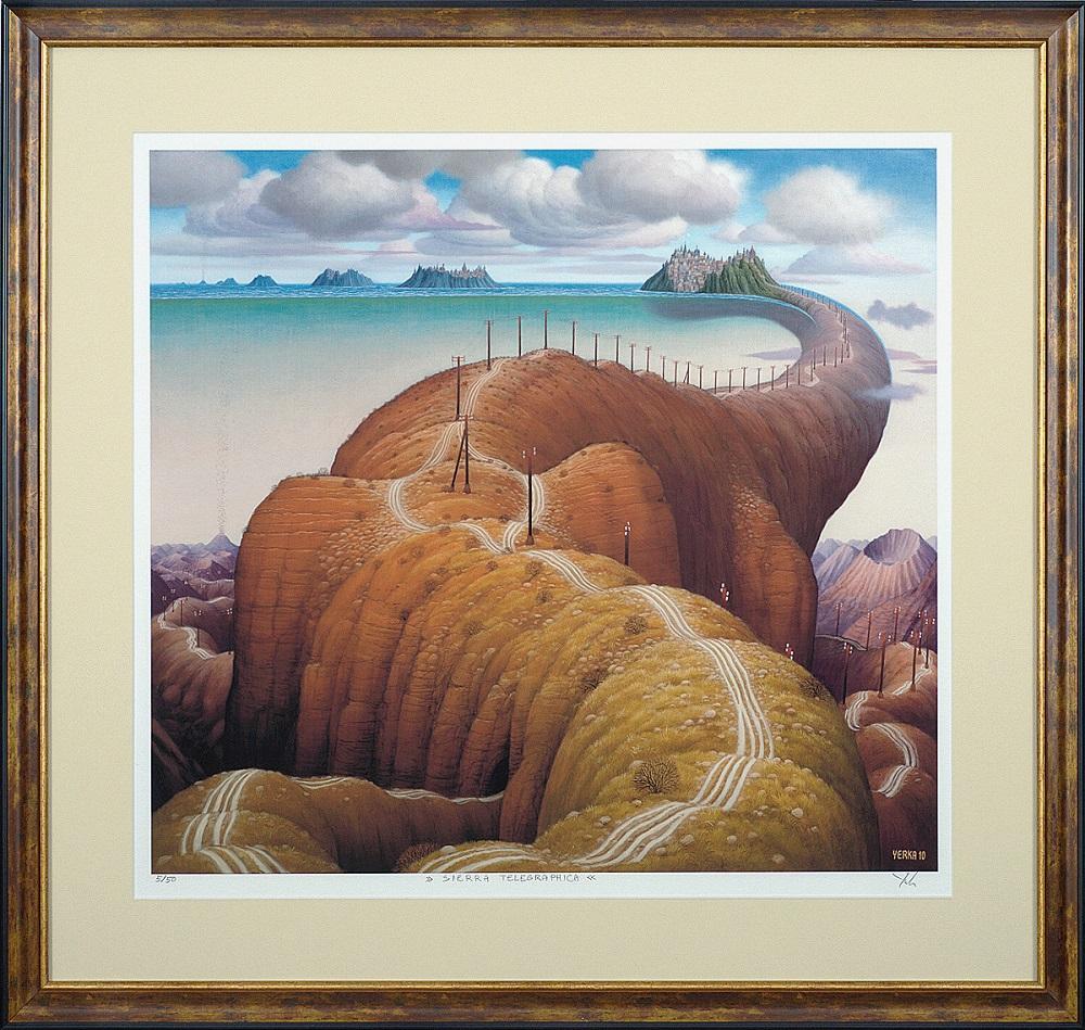 """Jacek Yerka, """"Sierra telegraphica"""", 58×54 cm, giclee oprawione, cena 2500 zł"""