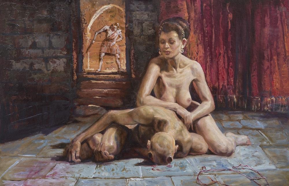 """Dariusz Kaleta, """"Mój Antyk Epizod 2"""", olej na kartonie, 100×70 cm, 2016, cena 11000 zł"""