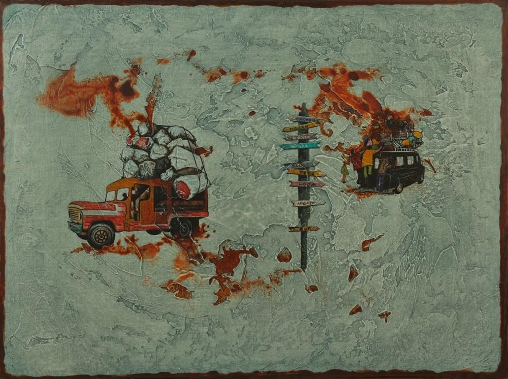 Pablo Caviedes, Szukając północy na południu, akryl na płótnie, 46×61 cm, 2013