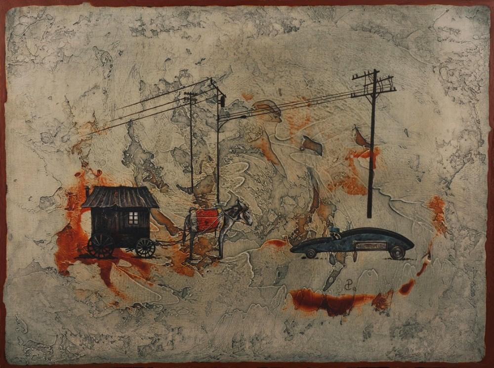 Pablo Caviedes, Idąc budujesz drogę, akryl na płótnie, 46×61 cm, 2013