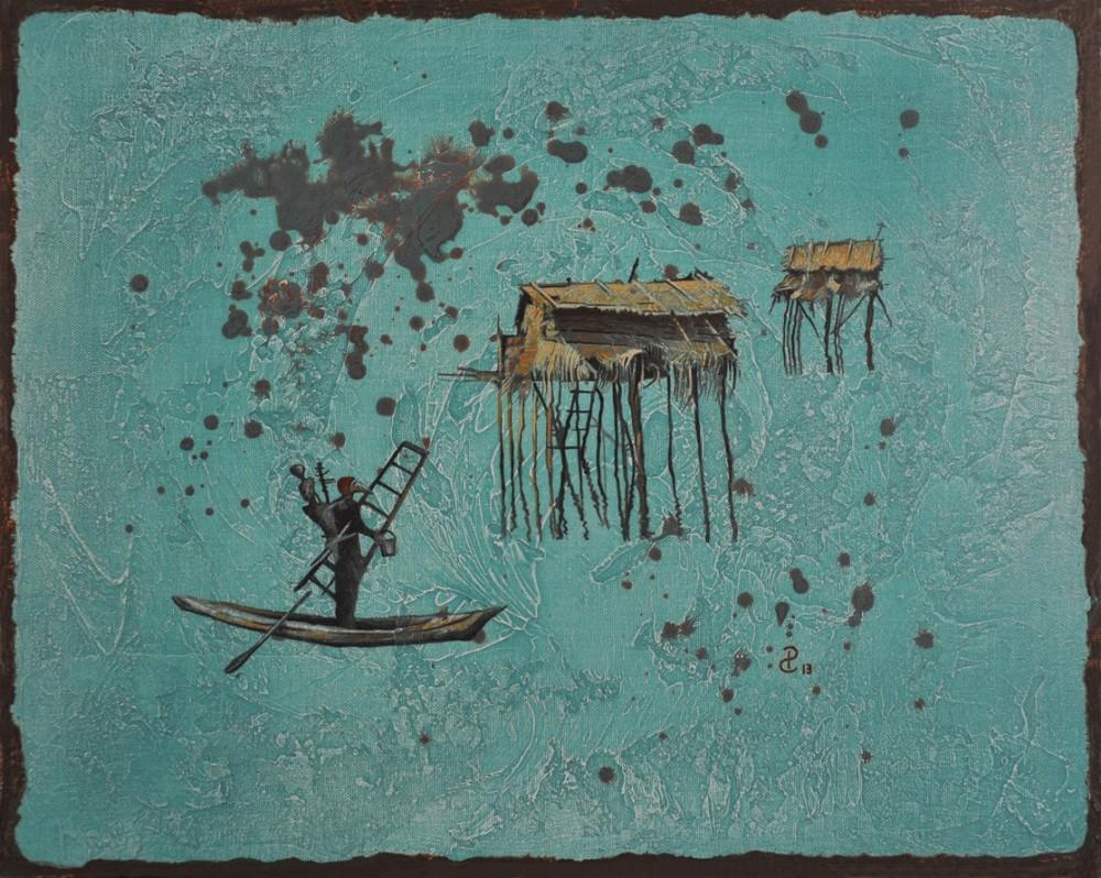 Pablo Caviedes, W drodze, akryl na płótnie, 41×51 cm, 2013