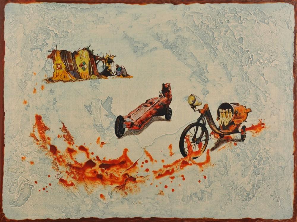 Pablo Caviedes, Świadectwo z autostrady, akryl na płótnie, 46x61cm