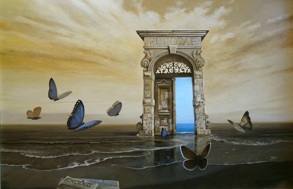 Krzysztof Wiśniewski, Exodus, olej na płótnie, 120×80 cm, oprawiony, 2016,  cena 12 000 zł