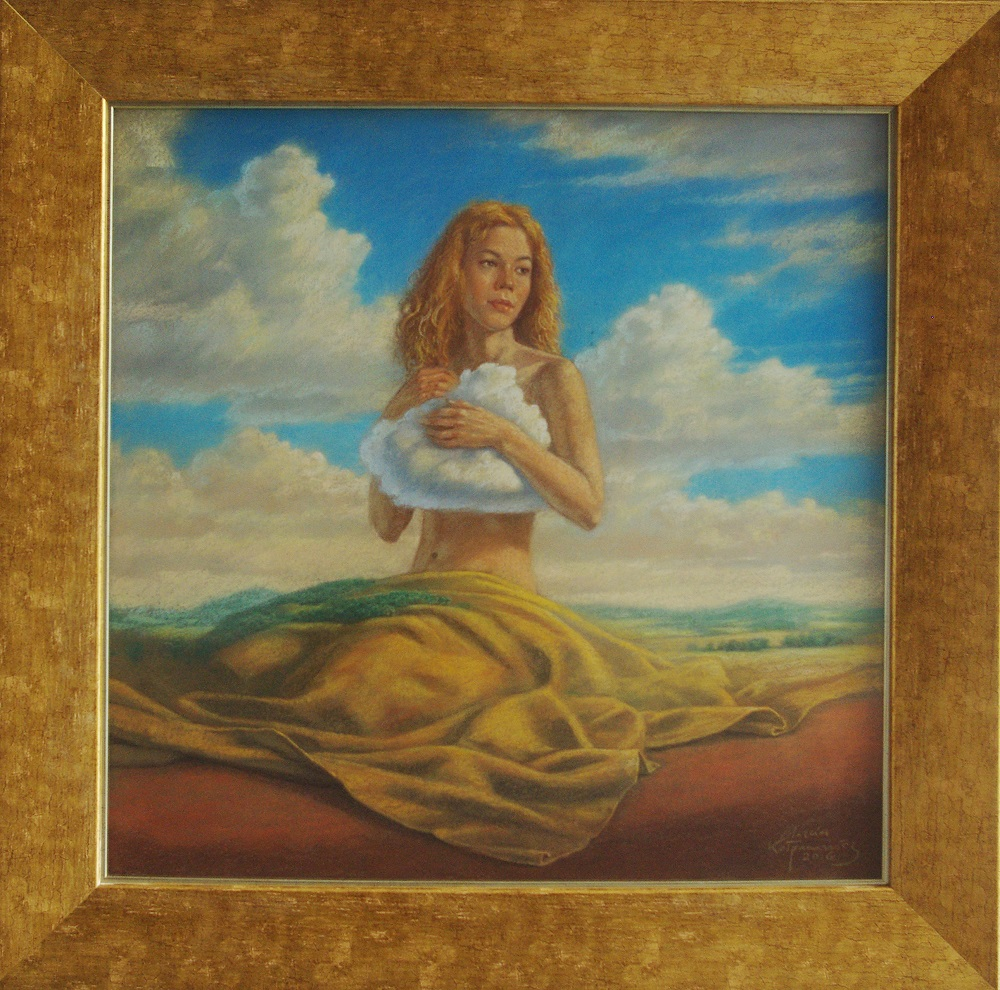 Marcin Kołpanowicz, Przebudzenie, 66×66 cm ( w ramie 86×86 cm), pastel na papierze – niedostępy