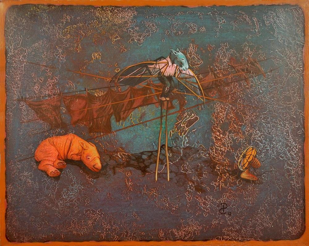 Pablo Caviedes, Lekcja wysokiego latania, akryl na płótnie, 41x51cm, 2013