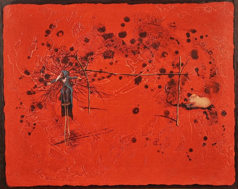 Pablo Caviedes, Lecąc wzwyż, akryl na płótnie, 41×51 cm, 2013