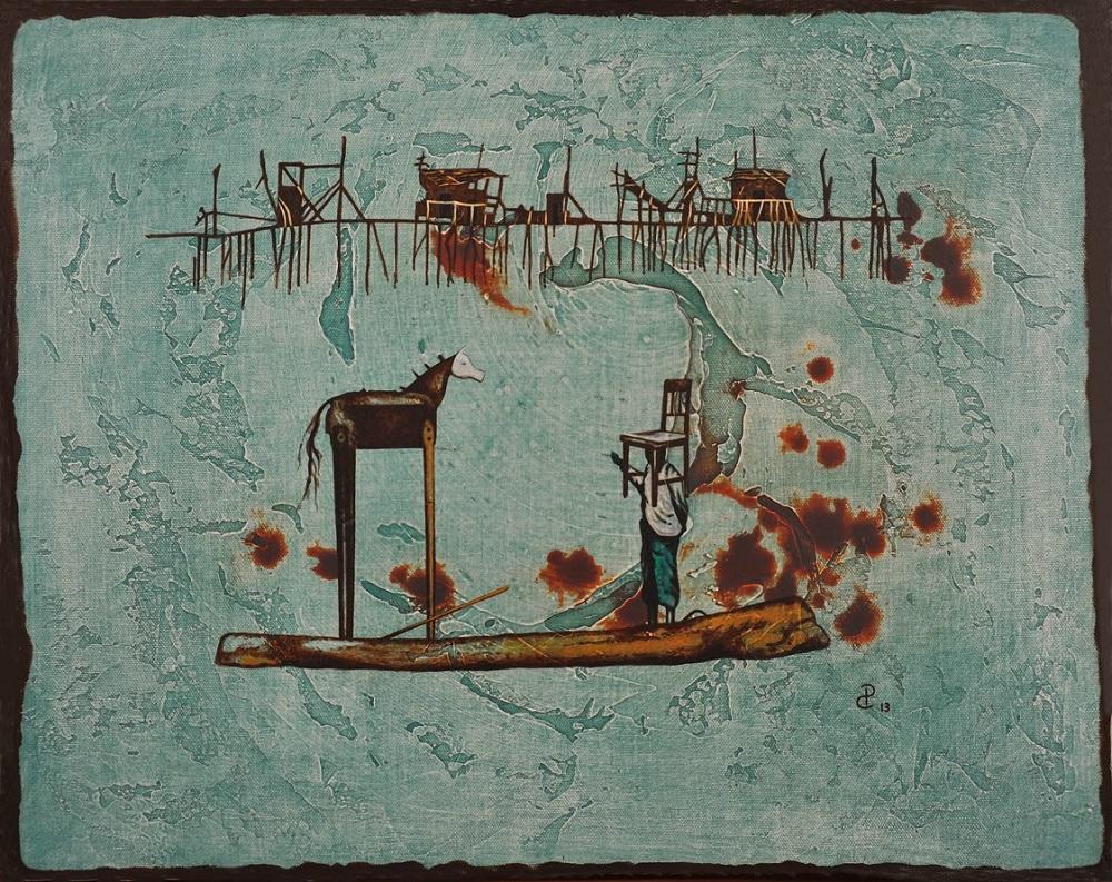 Pablo Caviedes, Pozostawiając za sobą ruiny, akryl na płótnie, 41×51 cm, 2013