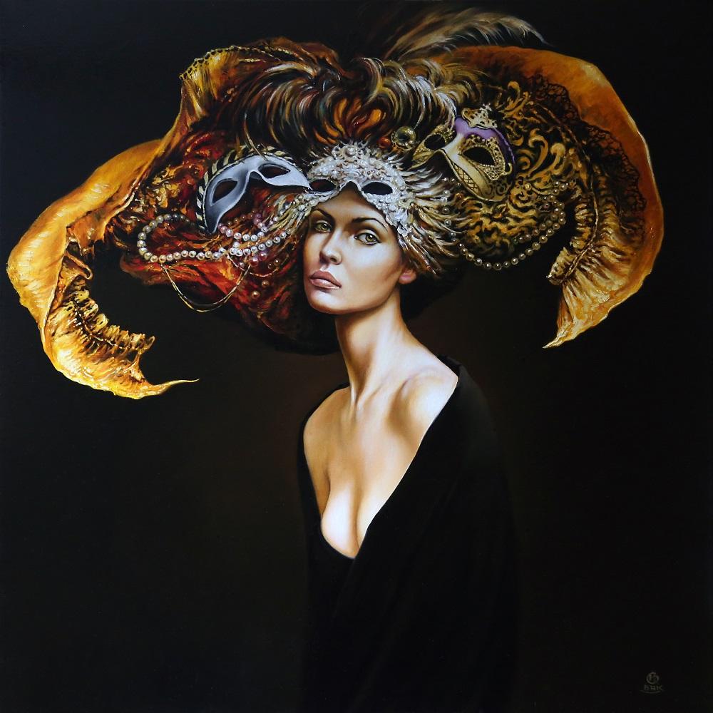 """Karol Bąk, """"Wybór"""" z cyklu """"Maski"""", 70×70 cm, olej na płótnie, 2016"""