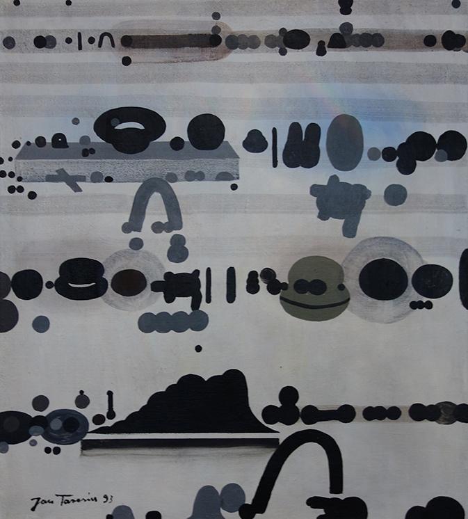 "Jan Tarasin, ""Sytuacja"", 55×45 cm, olej na płótnie, 1993, cena- obraz niedostępny"