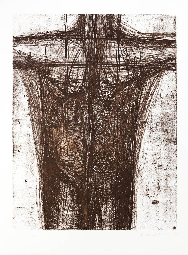 """Magdalena Abakanowicz, Bez tytułu, z cyklu """"Katharsis"""", sucha igła na papierze, 75×56 cm, 1985, cena- obraz niedostępny"""