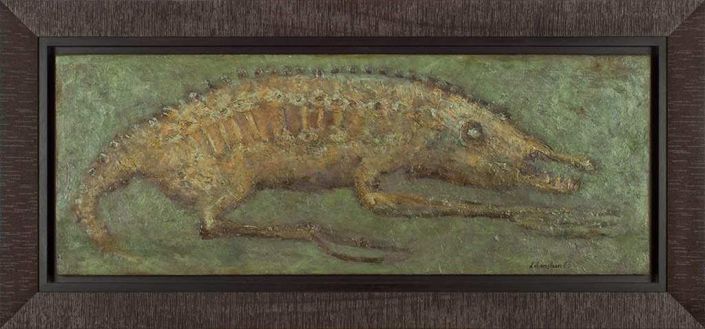 Jan Lebenstein, Bez tytułu, 113×43 cm (w ramie 133×62 cm), olej na desce, 1963, cena- obraz niedostępny
