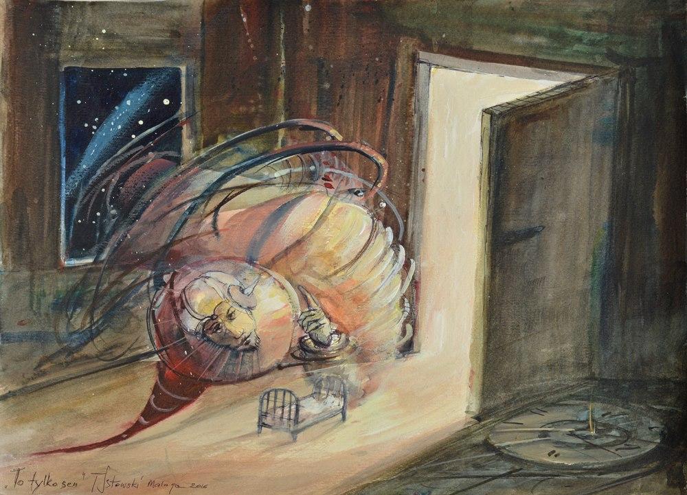 """Tomasz Sętowski, """"To tylko sen"""", akwarela, 40×50 cm, 2016, cena 3800 zł"""