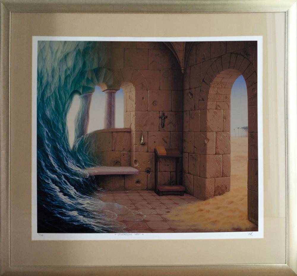 """Jacek Yerka, """"Stworzenie wody"""", giclee oprawione, 69 x 58 cm, cena 2 500 zł"""