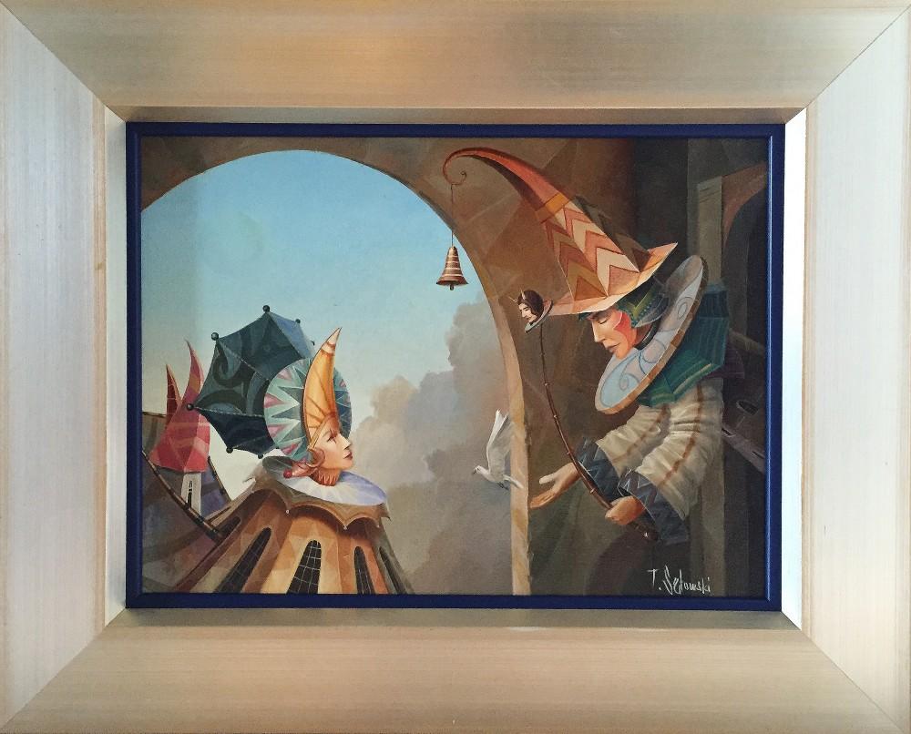 """Tomasz Sętowski, """"Kuglarze"""", olej na płótnie, 40 x 30 cm, cena – obraz niedostępny"""