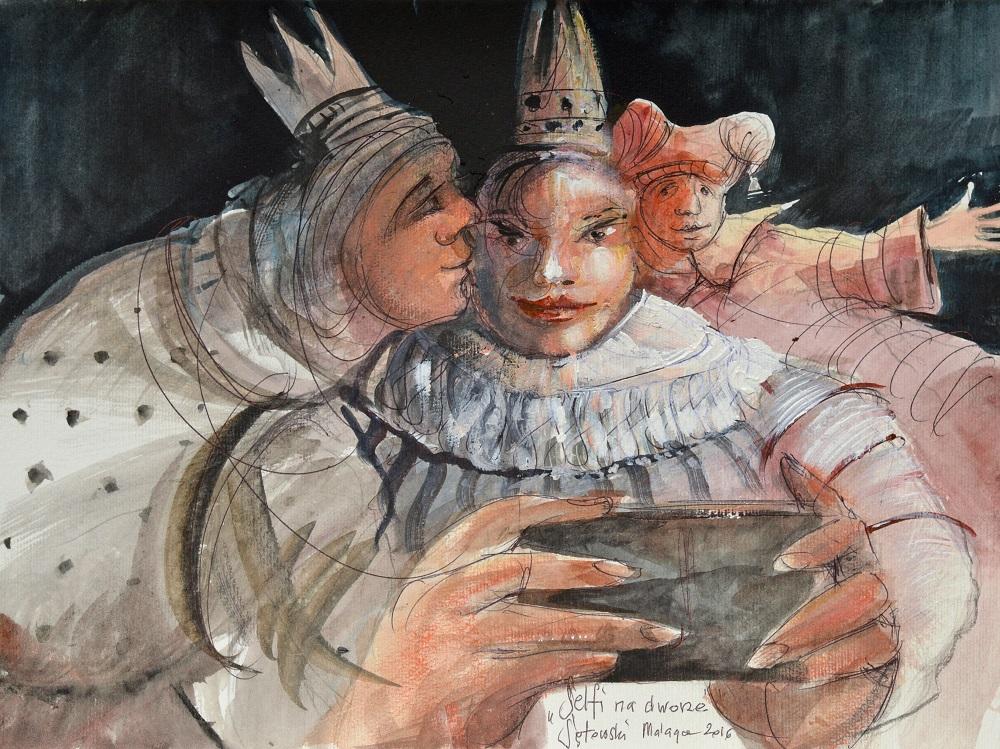 "Tomasz Sętowski, ""Selfi na dworze"", akwarela,  25 x 35 cm, 2016, cena 3 600 zł"