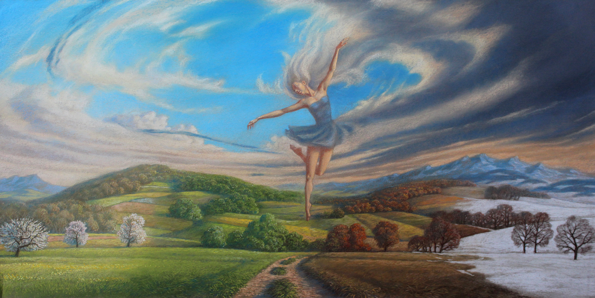 """Dance of the seasons"", 2017, pastel, 75 x 130 cm, niedostępny"