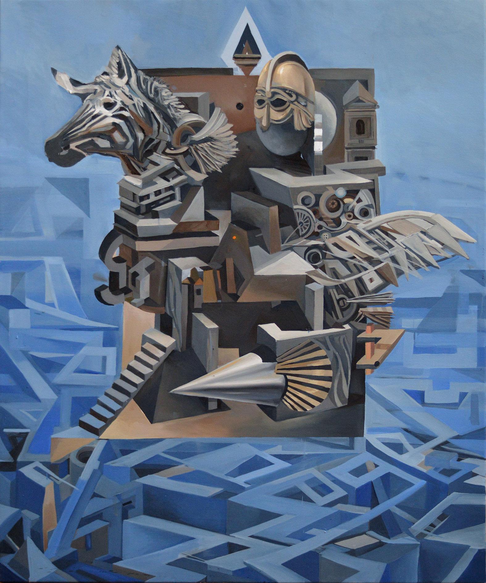 """""""Totem"""", 2017, 120 x 100 cm, olej na płótnie"""