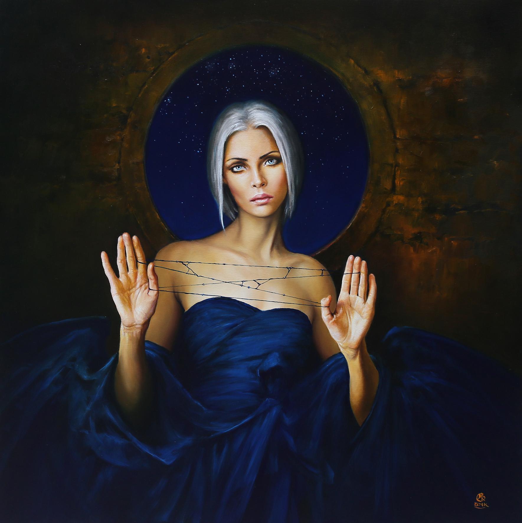 """""""Mojra"""", 2017, olej na płótnie, 70 x 70 cm"""