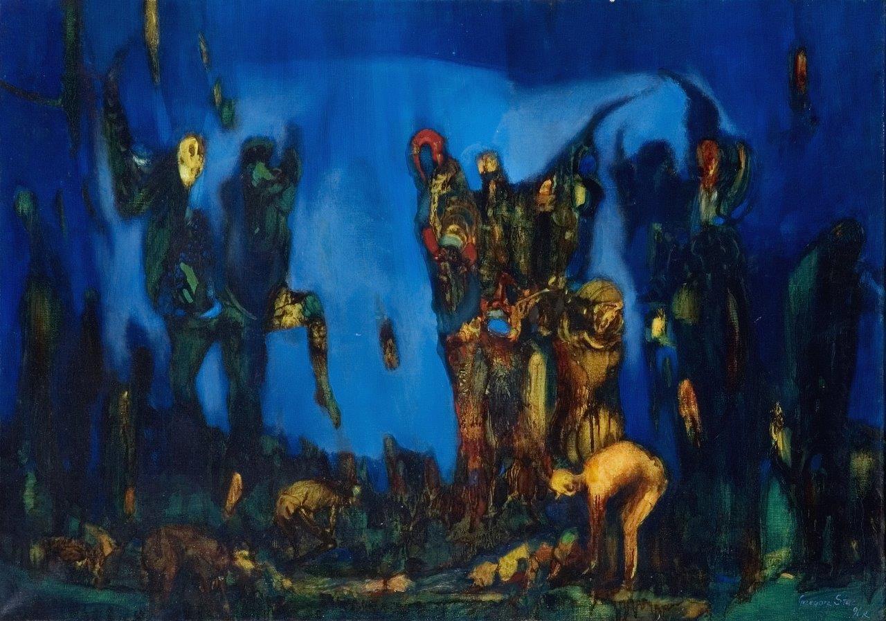"""Grzegorz Stec, """"Śmierć klauna"""", 1991, olej na płótnie, 81 x 58 cm, cena – 19 000 zł"""