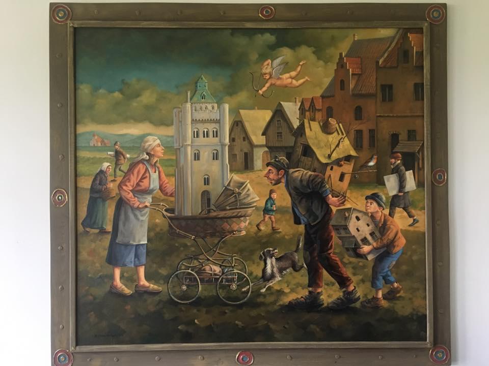 """Dariusz Miliński """"bogata panna i słomiany rozwodnik"""" format 100×110 (bez ramy) 115×125  Olej/ płótno, cena 13000 zł"""