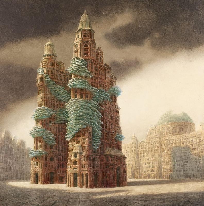"""Fungopolis"", giclée, płótno, 95 x 95 cm, cena – 2 800 zł"