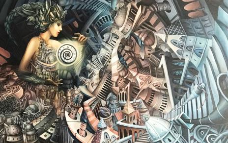 """""""Aberracja matrycy czasu"""", 2017, obraz olejny na płótnie, 110 x 70 cm"""