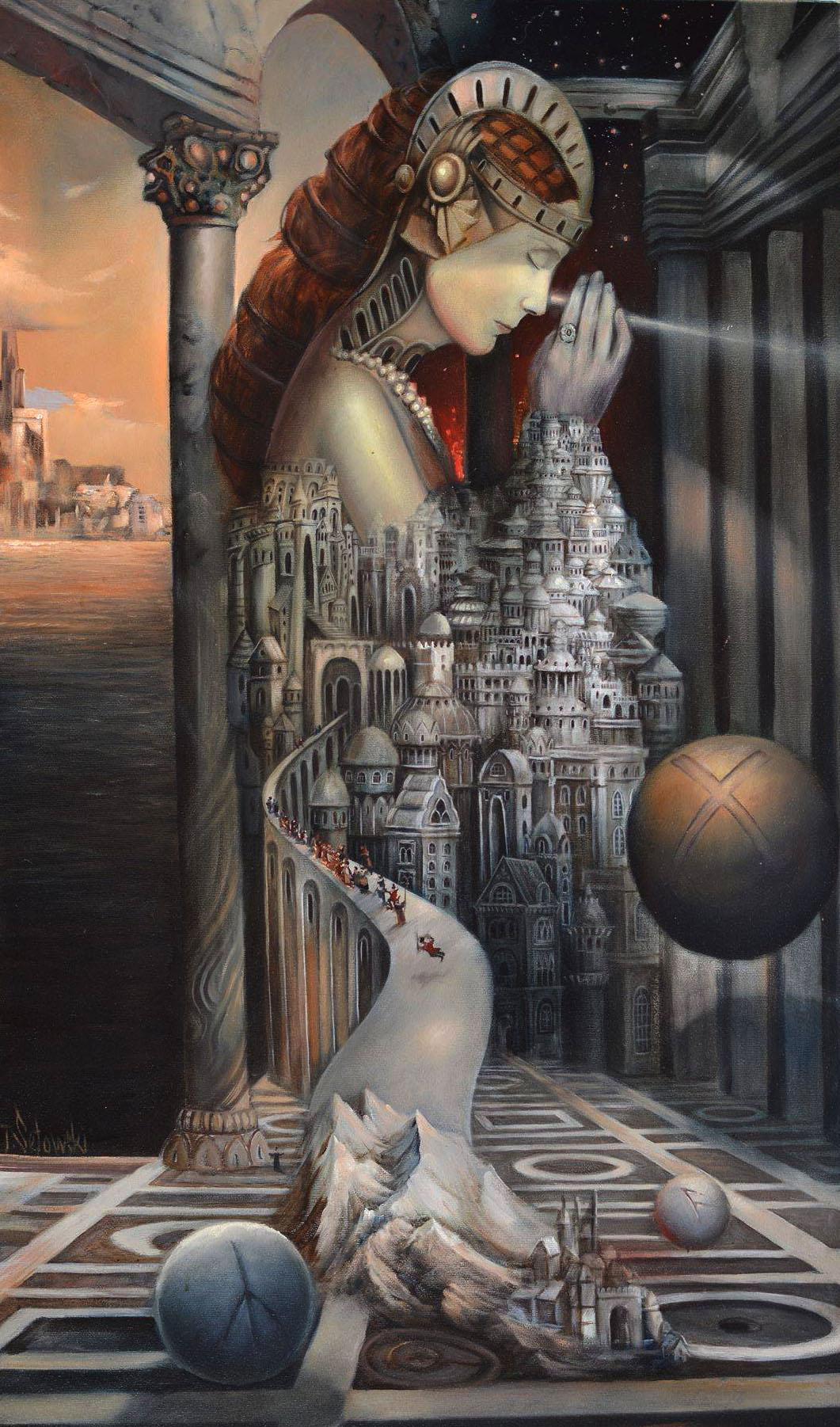 """""""Patronka zbłąkanych dusz"""", olej na płótnie, 130 cm x 90 cm, cena – obraz niedostępny"""