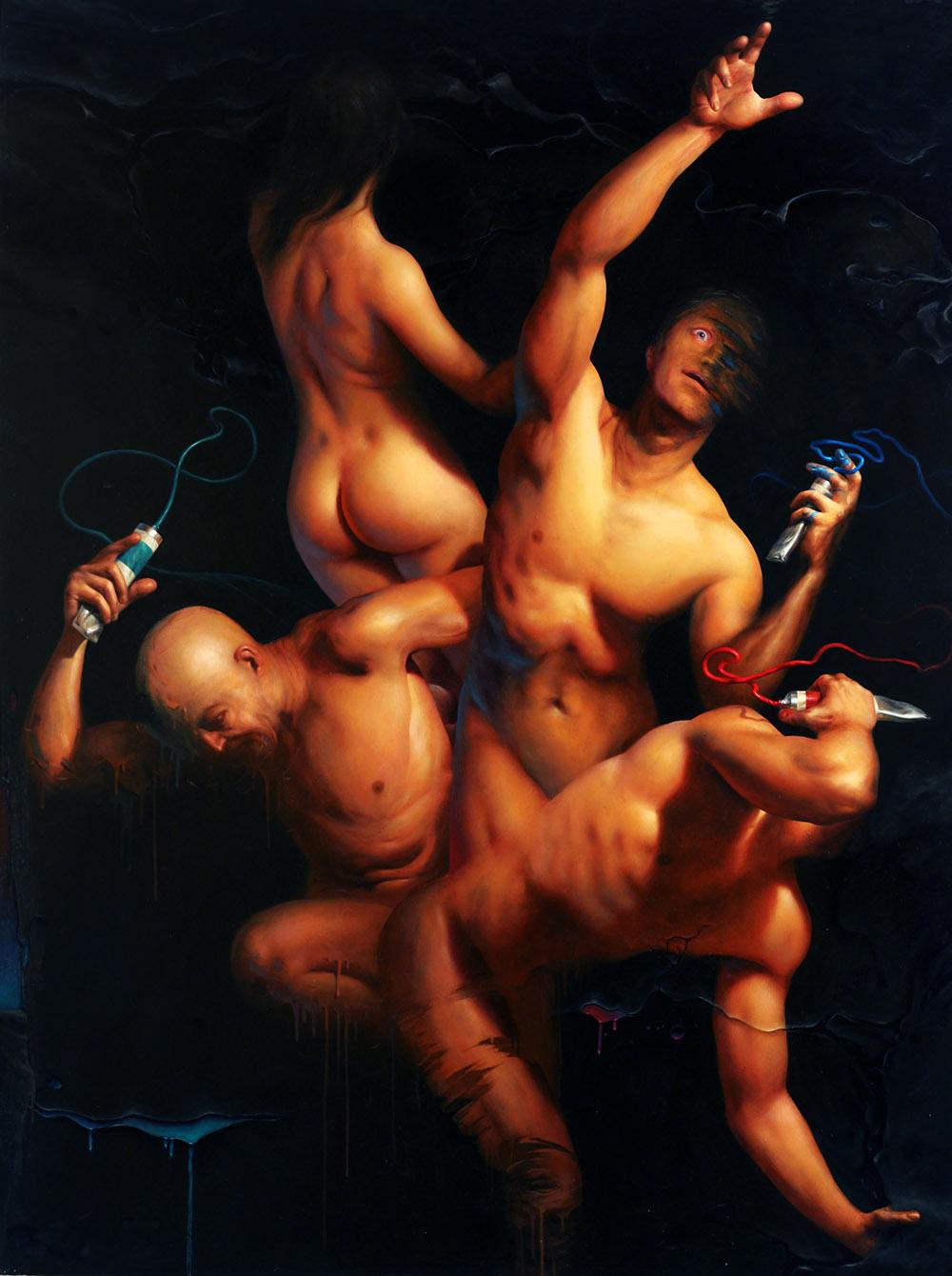 """Jarosław Kukowski, """"Suita A Minor"""", olej na płycie, 122×160 cm"""