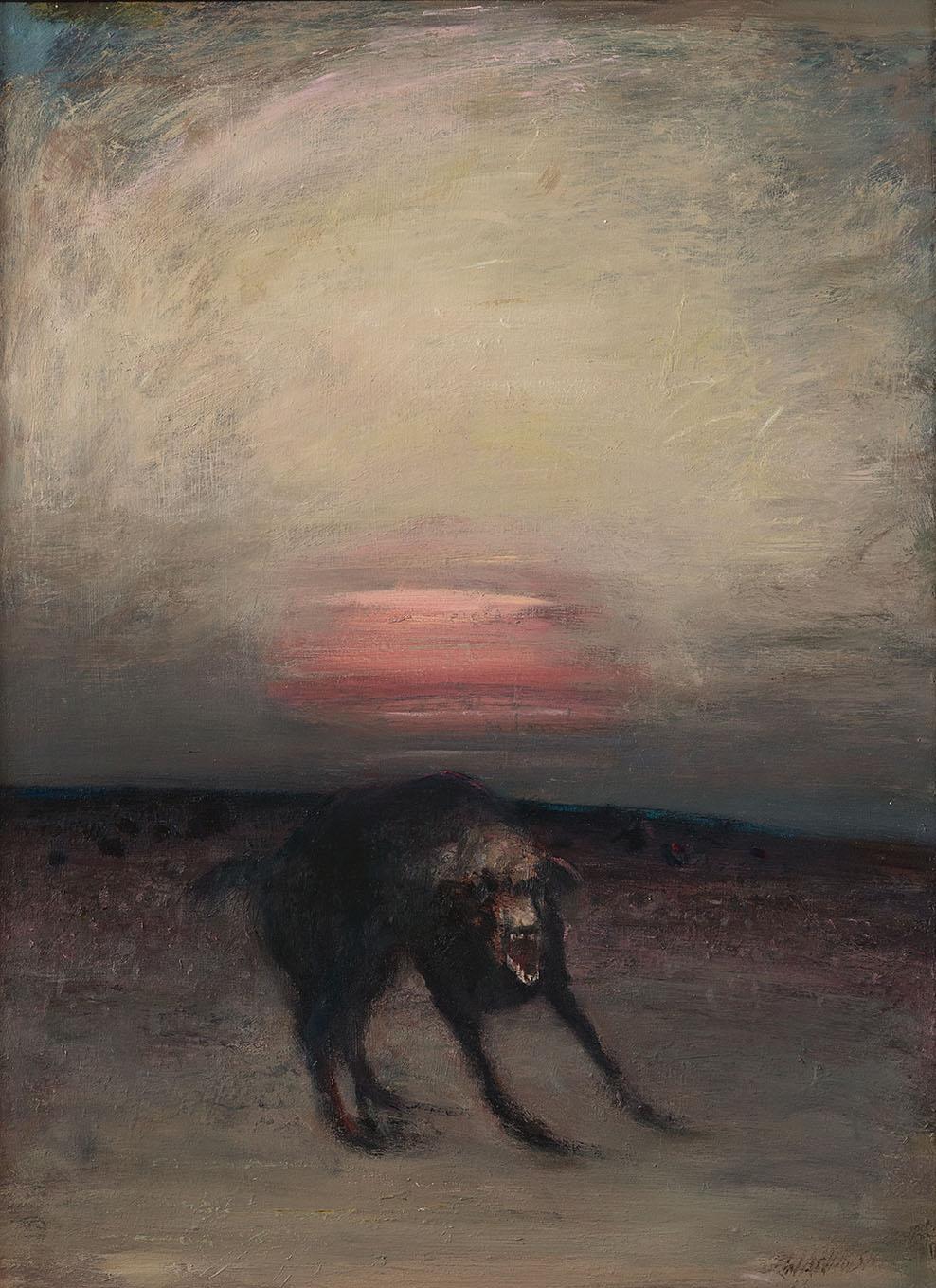 """""""Zły pies"""", 2017, olej na płycie, 80 x 105 cm, cena – 20 000 zł"""