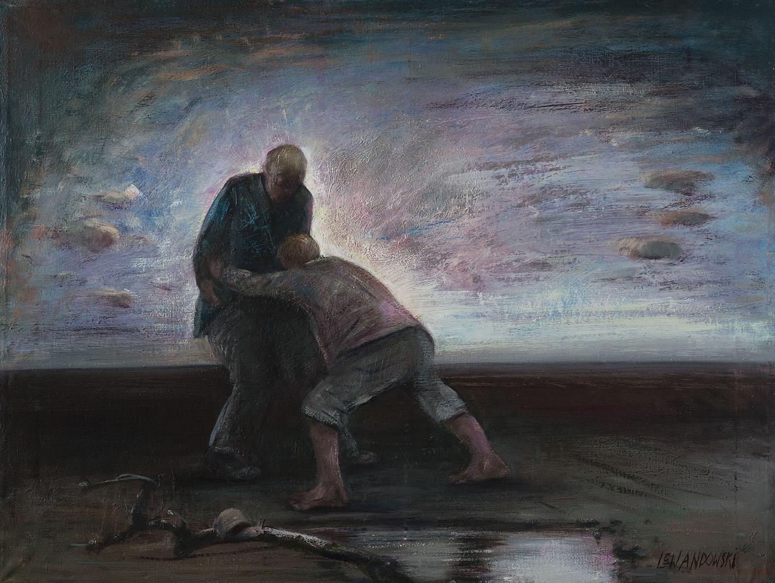 """""""Walka Jakuba z aniołem"""", 2015, olej na płótnie, 127 x 110 cm, cena – 35 000 zł"""