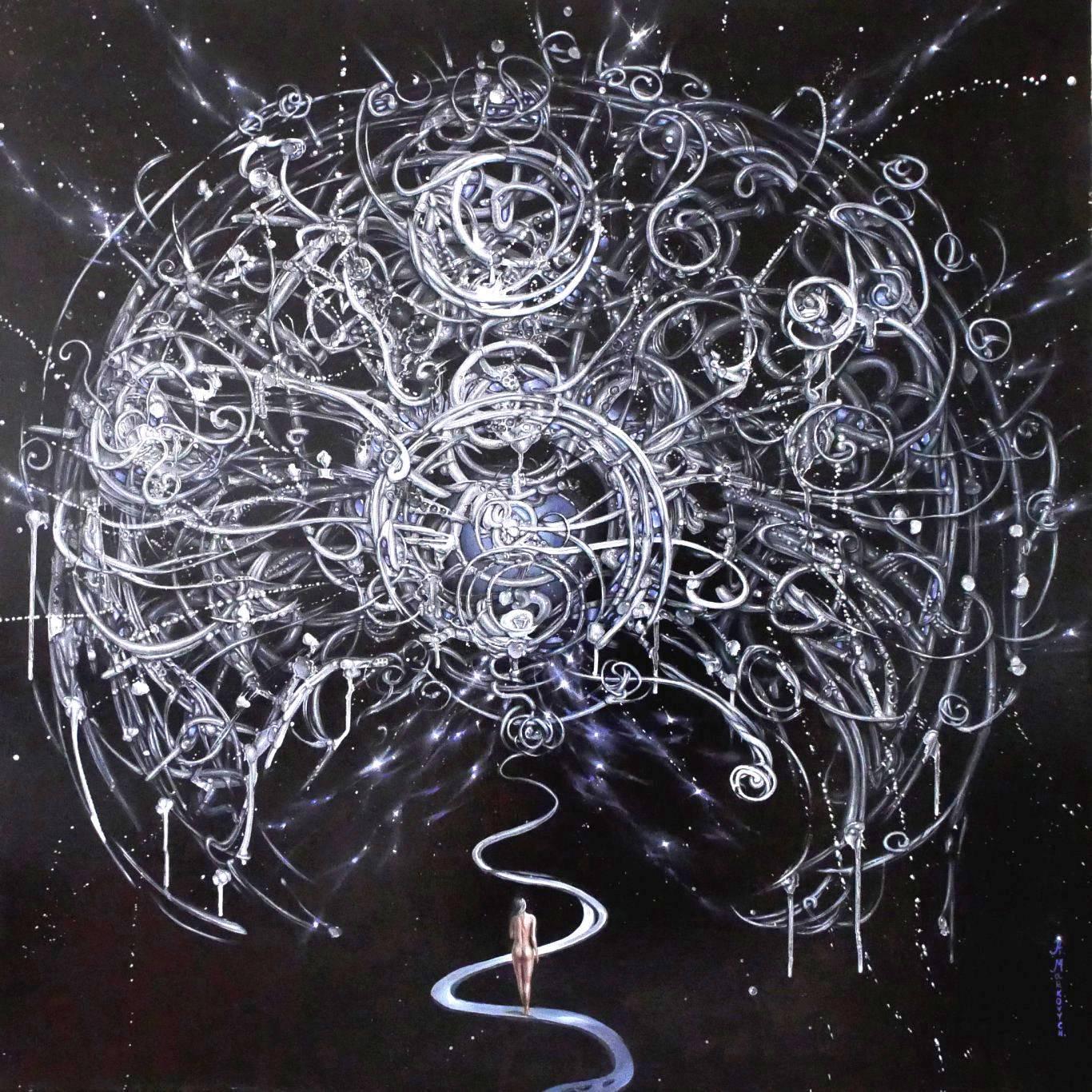 """""""Świadomość kosmiczna"""" olej na płótnie, 70×70 cm, w ramie 112×112 cm – cena 16 000 zl"""