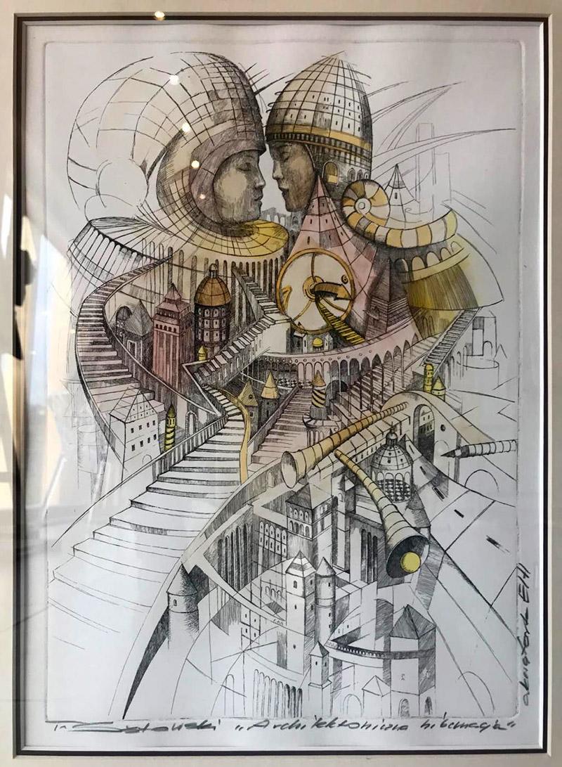 """Tomasz Sętowski """"Architektoniczna hibernacja"""", akwaforta, 37×27 cm, z rama: 57×46 cm, cena 3400 zł"""