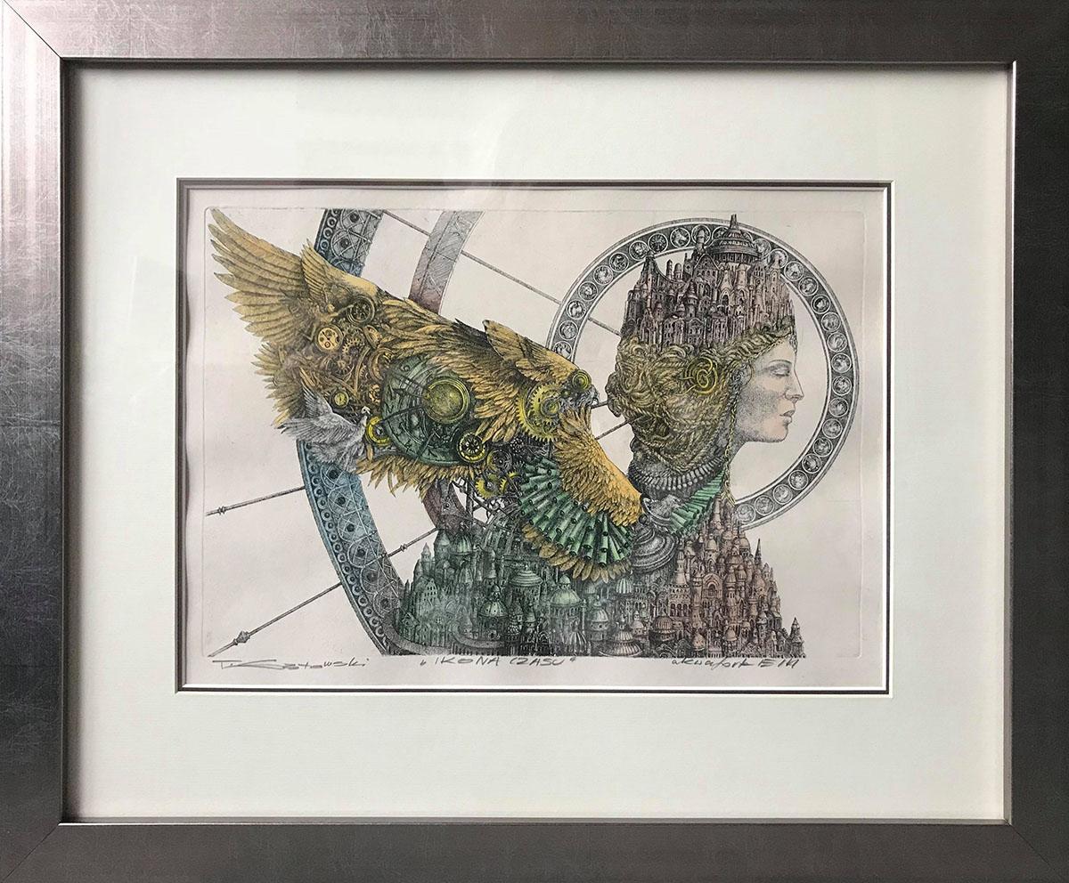 """Tomasz Sętowski """"Ikona czasu"""", akwaforta w kolorze, 40×29 cm, w ramie 59×48 cm"""