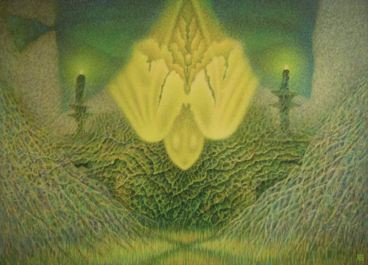 """Katarzyna Kania, """"Zielone światło Księżyca"""" 95×132 cm,  olej na płótnie"""
